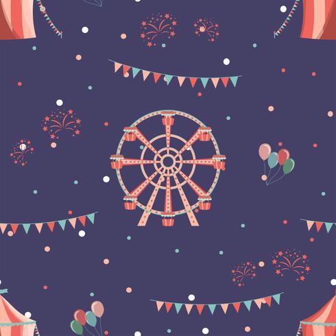 Nöjesparkens sömlösa mönster med pariserhjul och cirkus. vektor