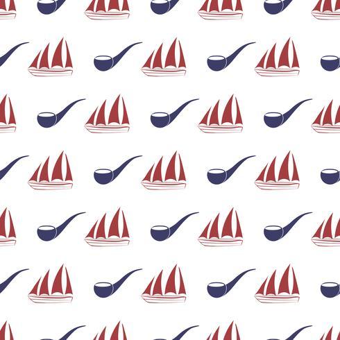 Nautiskt sömlöst mönster med fartyg och tobaksrör. vektor