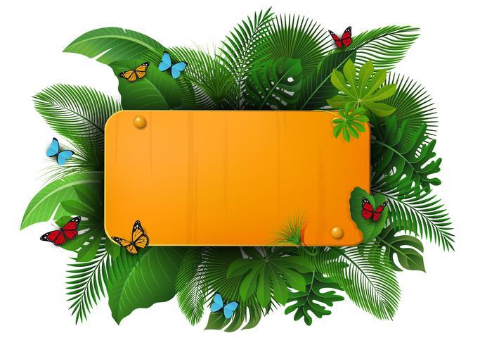 Goldzeichen mit Textraum von tropischen Blättern und von Schmetterlingen. Geeignet für Naturkonzept, Urlaub und Sommerurlaub vektor