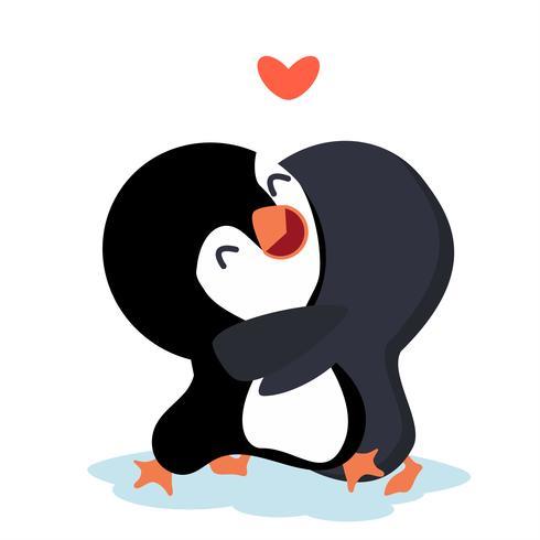 Tecknad pingviner lyckligt par kram vektor