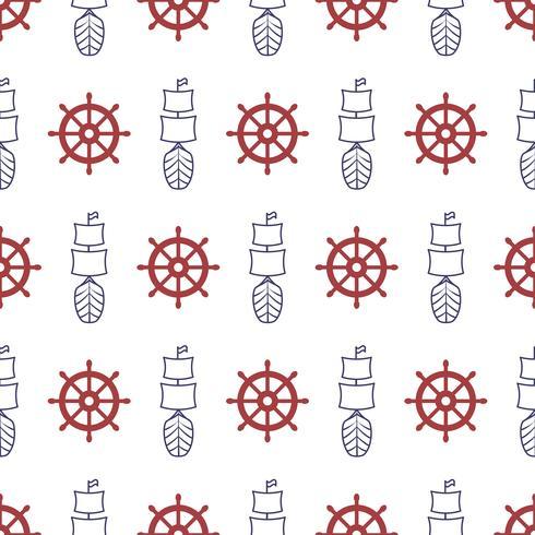 Nautiskt sömlöst mönster med ankare och porthole. vektor