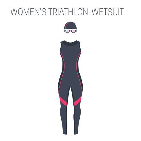 Triathlon kvinnors ärmlös våtdräkt vektor