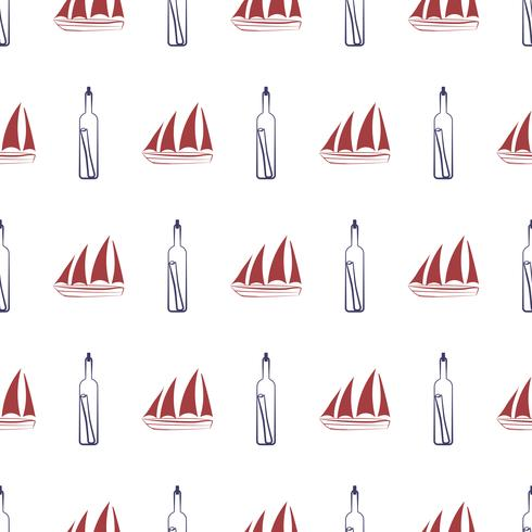 Nahtloses nautischmuster mit Schiff und Flasche. vektor