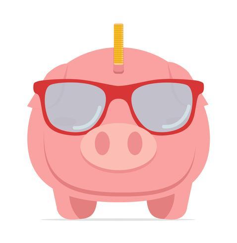 Spargris bär glasögon för att spara pengar vektor