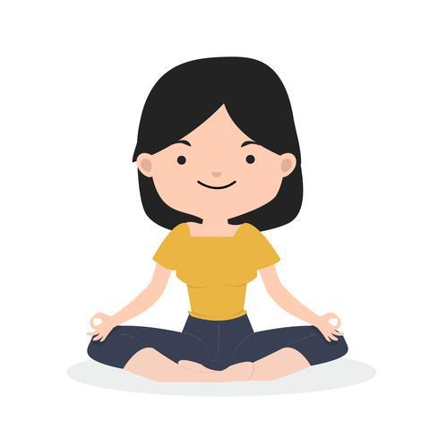liten tjej mediterar i platt design vektor