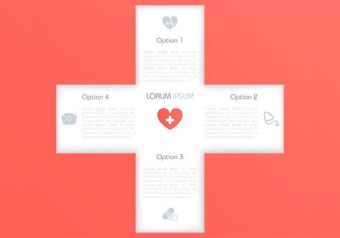 Cutout Medical Cross Bakgrund Vector