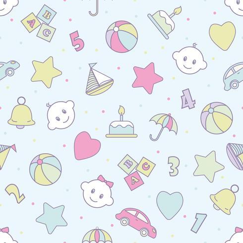 Baby spielt nahtloses Muster. Kann für Textilien, Papier und anderes Design verwendet werden. vektor