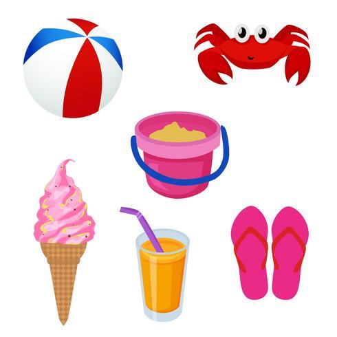 sommar strand semester ikonen uppsättning vektor