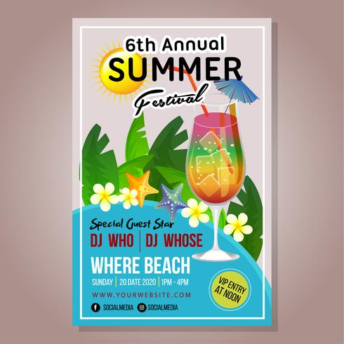 Plakat Sommer Festival Vorlage neues Getränk vektor