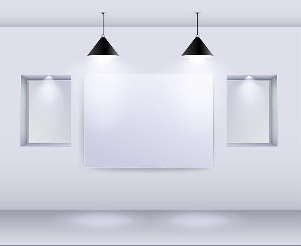 Galerie-Innenraum mit leerem Rahmen auf Wand und Scheinwerfern vektor