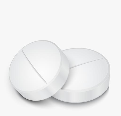 Weiße Pille auf grauem Hintergrund vektor