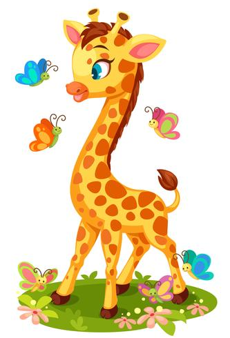 Gullig giraff som leker med fjärilar vektor