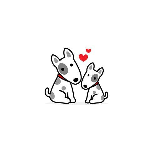 Mamma och Baby hund tecknad vit bakgrund. vektor