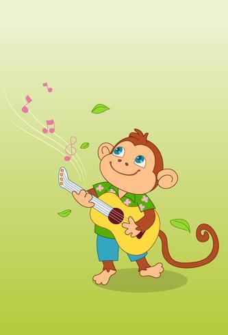 Niedlicher Affe, der Gitarrenkarikatur spielt vektor