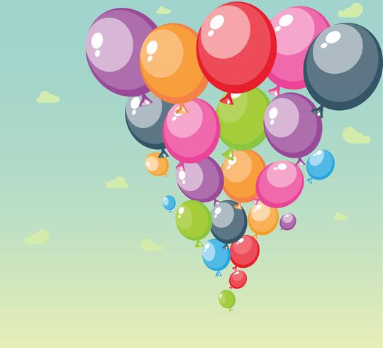 Festliga ballonger bakgrund med himmel och moln vektor