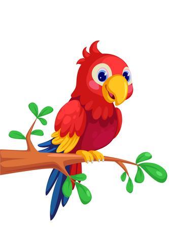 söt macaw tecknad film sitter på gren vektor