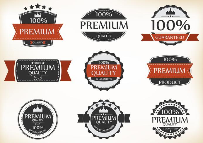 Premium-Qualitäts- und Garantie-Etiketten im Retro-Vintage-Stil vektor