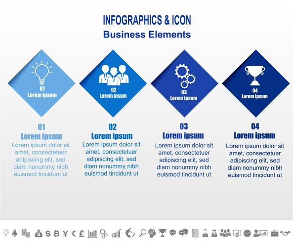 Infographic business tidslinje process och ikoner mall. Affärsidé med 4 alternativ, steg eller processer. Vektor. vektor