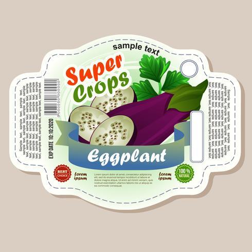 klistermärke för äggplanta etikett vektor
