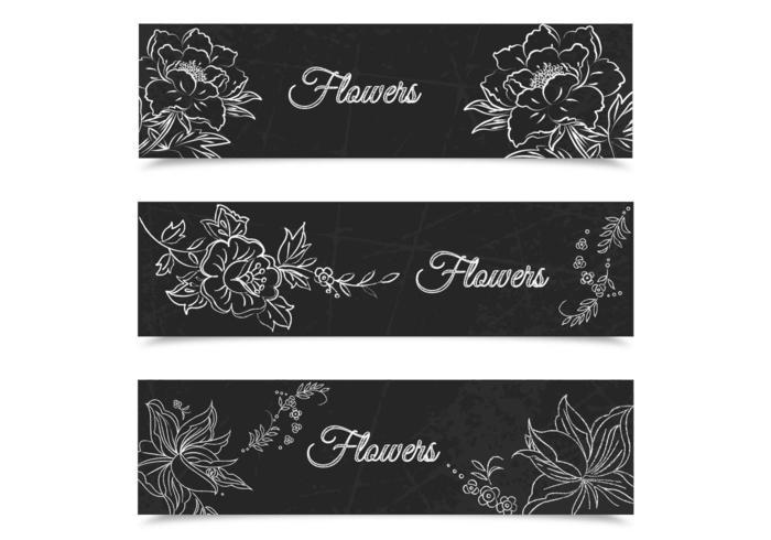 Kreide gezeichneter Blumenfahnen-Vektorsatz vektor