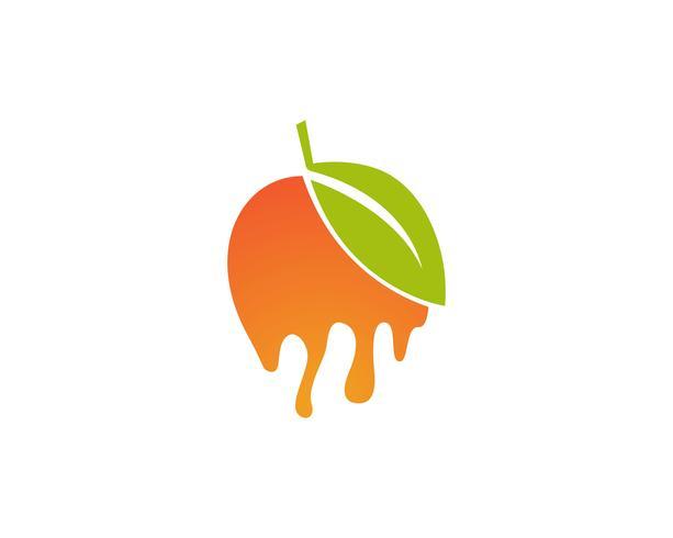 Mango im flachen Artmangologomangoikonen-Vektorbild vektor