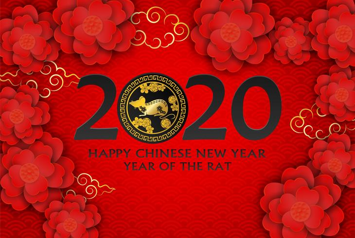 2020 Frohes chinesisches Neujahr. Entwerfen Sie mit Blumen und Ratte auf rotem Hintergrund. Papierkunststil. Frohes Rattenjahr. Vektor. vektor