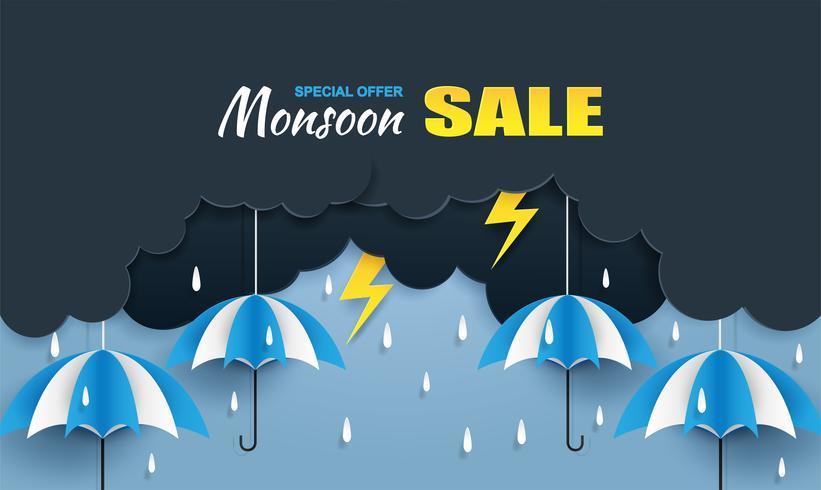 Monsoon, Rainy Season försäljning bakgrund. moln regn, åska och paraply hänger på blå himmel. papperskonst style.vector. vektor