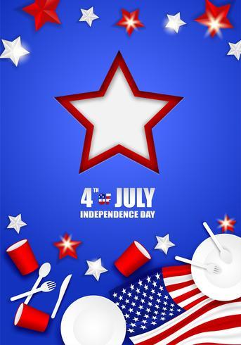 4. Juli Glücklicher Unabhängigkeitstag USA. Entwerfen Sie mit Löffel, Teller, Gabel, Messer, Papierglasgeschirr und Stern der amerikanischen Flagge auf blauem Hintergrund Vektor. vektor