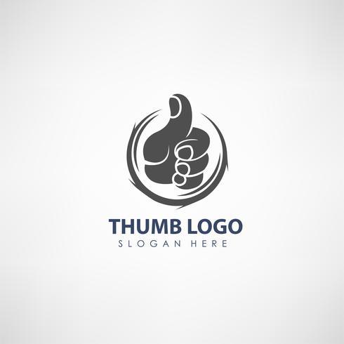 Thumb up koncept logotyp mall. Etikett för röstning, företag eller organisation. Vektor illustration
