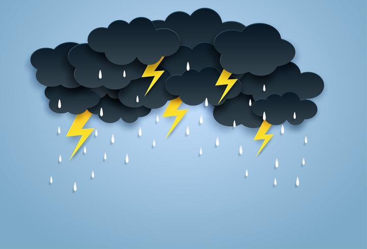 Monsoon, regnig säsongbakgrund. molnregn och åska på himmelen. papperskonst style.vector. vektor