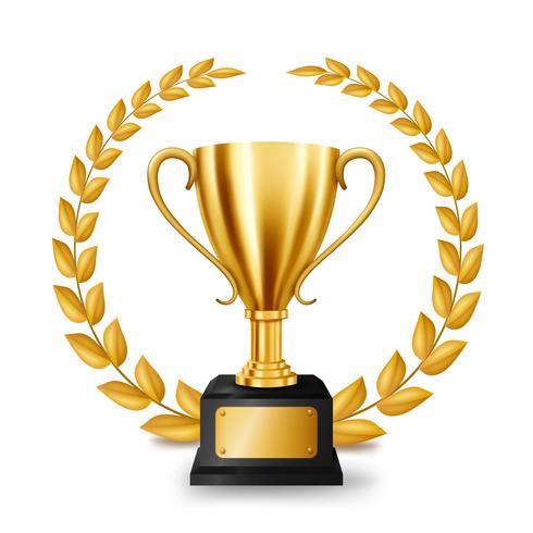 Realistisk Golden Trophy med Gold Laurel Wreath, Vector Illustration
