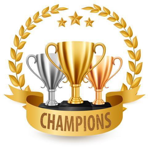 Realistiska Golden, Silver och Bronze Trophies med guld Laurel krans och band, Vektor illustration
