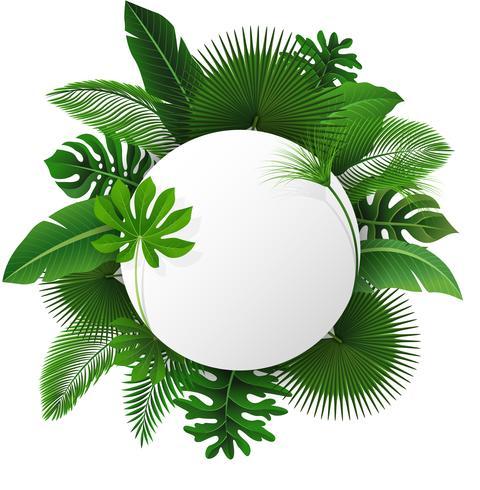 Rundes Zeichen mit Textraum von tropischen Blättern. Geeignet für Naturkonzept, Urlaub und Sommerurlaub. Vektor-Illustration vektor