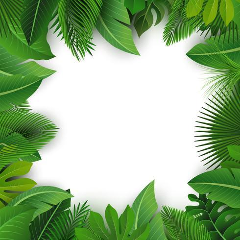 Hintergrund mit Textraum von tropischen Blättern. Geeignet für Naturkonzept, Urlaub und Sommerurlaub. Vektor-Illustration vektor
