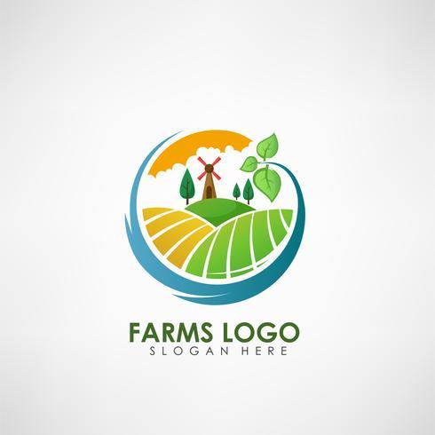 Lantbruks koncept logotyp mall. Etikett för naturliga lantbruksprodukter. Vektor illustration