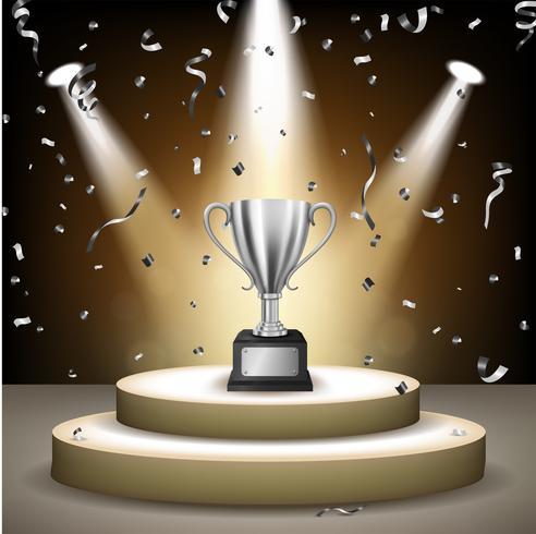 Realistisk Silver Trophy på scenen med konfetti fallande och upplysta strålkastare, Vector Illustration