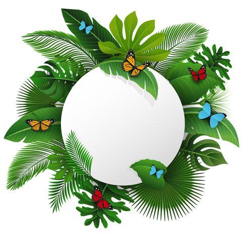 Rundes Zeichen mit Textraum von tropischen Blättern und von Schmetterlingen. Geeignet für Naturkonzept, Urlaub und Sommerurlaub. Vektor-Illustration vektor