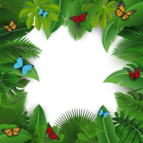 Hintergrund mit Textraum von tropischen Blättern und von Schmetterlingen. Geeignet für Naturkonzept, Urlaub und Sommerurlaub. Vektor-Illustration vektor