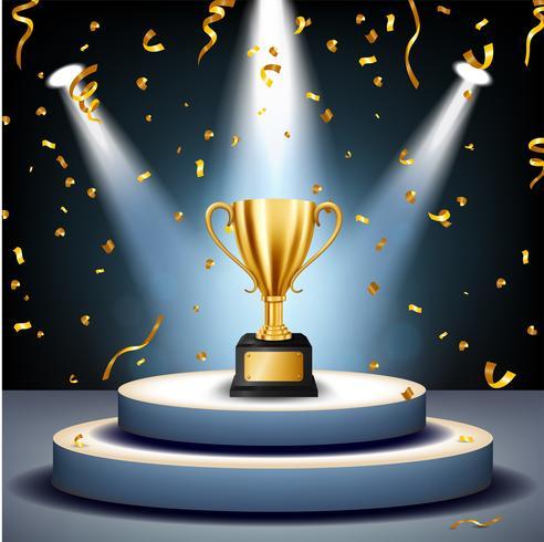 Realistisk Golden Trophy på scenen med gyllene konfetti fallande och upplysta strålkastare, Vector Illustration