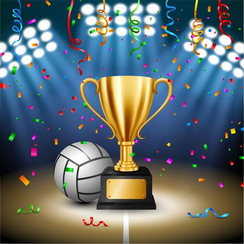Volleybollsmästerskap med Golden Trophy med fallande konfetti och upplyst spotlight, Vector Illustration