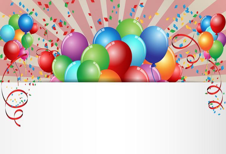 Glückwunschkarte Feier mit buntem Ballon vektor