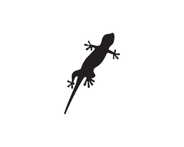 Schwarzes Vektorschwarzes des Eidechsen-Chamäleon-Gecko-Schattenbildes vektor