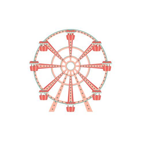 Tecknad pariserhjulikon. Nöjesparkstur. vektor