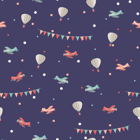 Nahtloses Muster des Flugzeuges und des Luftballons vektor
