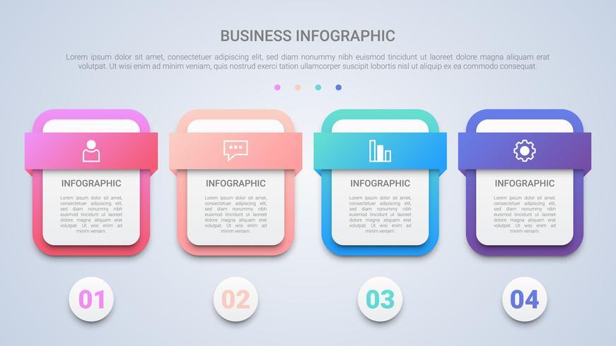 Modernes Infographic Schablonen-Design 3D für Geschäft mit dem vier Schritt-Mehrfarbenaufkleber vektor