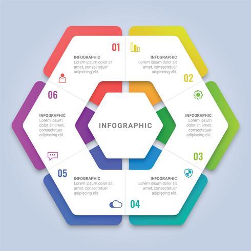 Abstrakt 3D Hexagon Infographic Template med sex alternativ för arbetsflödeslayout, diagram, årsrapport, webbdesign vektor