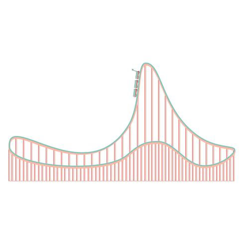 Cartoon berg-och dalbana icon vektor