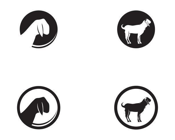 Vektorlogo und -symbol der schwarzen Tiere der Ziege vektor