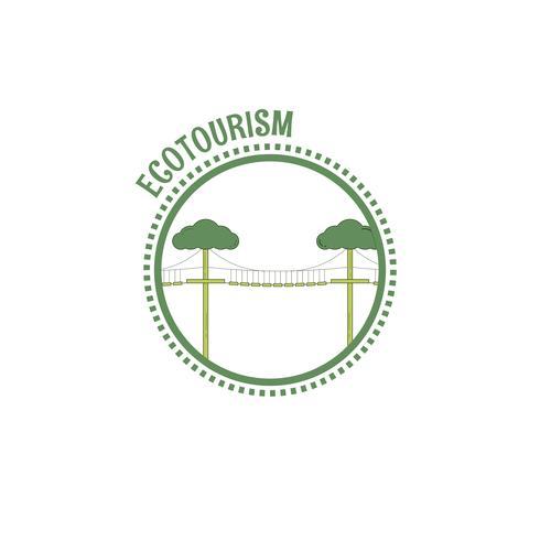 Ökotourismus-Stempel. Strichgrafiken vektor