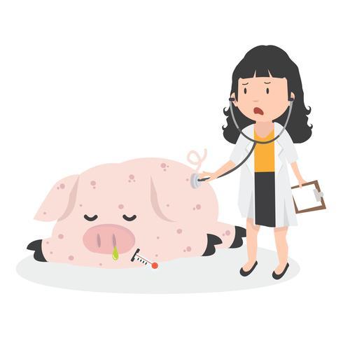Kranke Schweinegrippe mit dem Arzt vektor